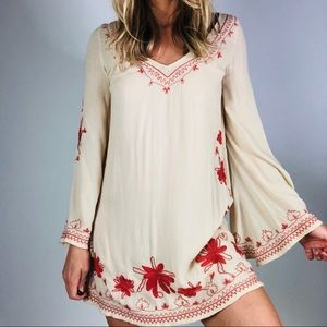 FREE PEOPLE Tunic Dress Small Boho Bell Sleeves
